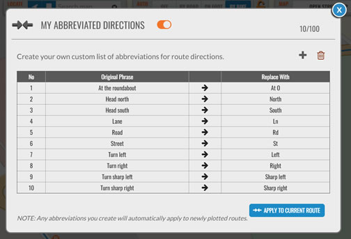 Create your own abbreviations for directions on the plotaroute.com route planner
