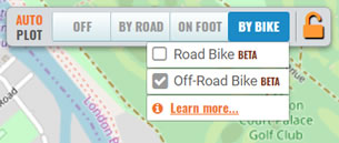 Bike routing options in the plotaroute.com route planner