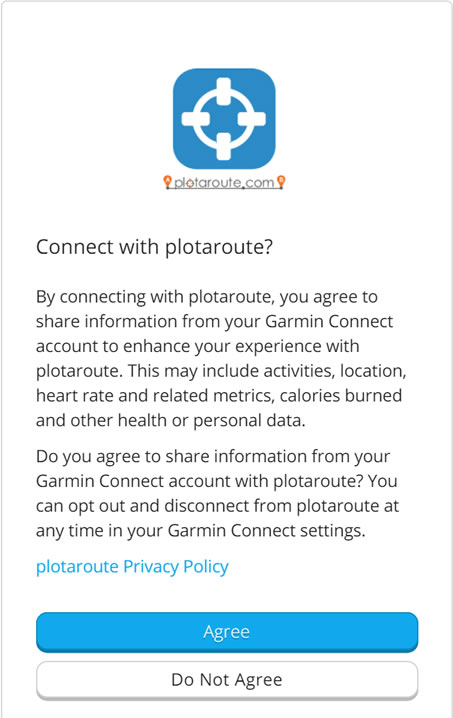 Approve the connection to plotaroute