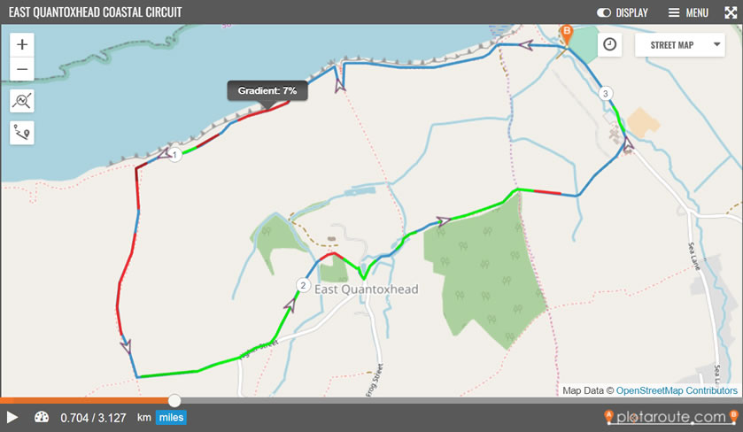 Example of gradient highlighting on the plotaroute.com route planner