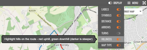 Menu option to toggle hilliness highlighting