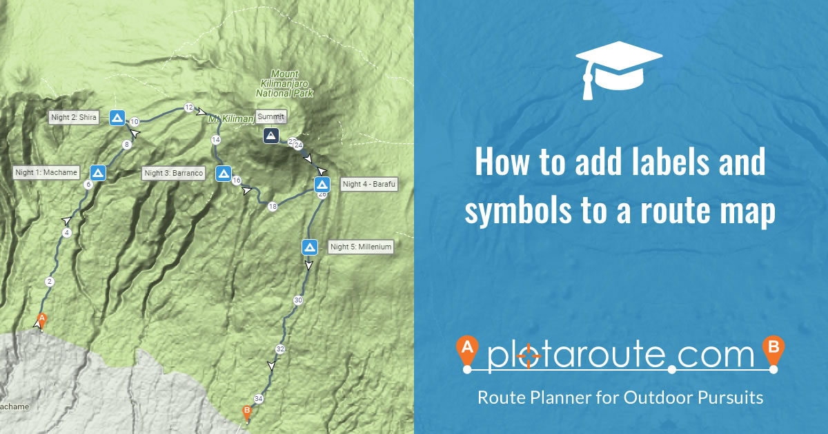 How to add labels and symbols to a route map on plotaroute.com