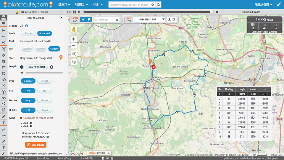 'Make Me a Route' feature on the plotaroute.com route planner