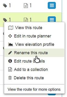 My Routes context menu