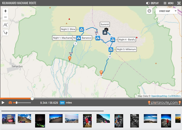 Photos shared with a route map