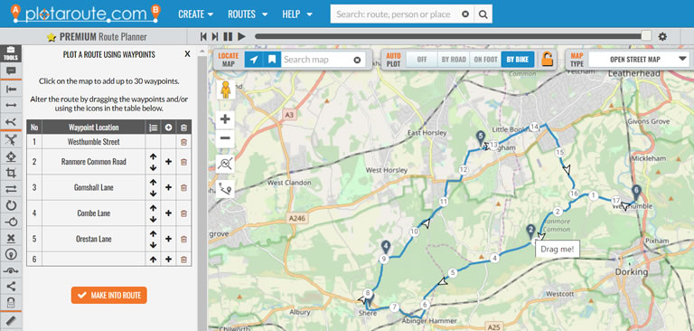 Quickly plot a route with draggable waypoints on the plotaroute.com route planner