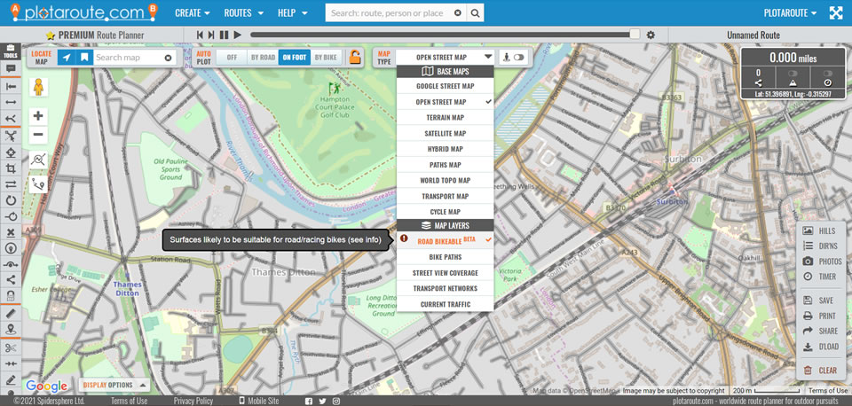 Road Bikeable map layer on the plotaroute.com route planner