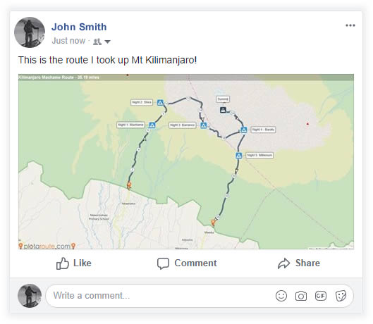 Route map shared on Facebook