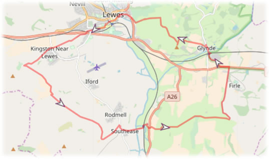 Route added to background map ready for tracing