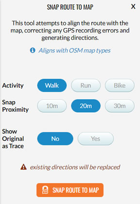 Select the Snap Route to Map panel