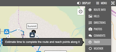 Route Timer option when viewing a route