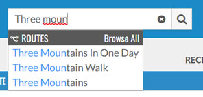 Select a route using the Universal Search Box